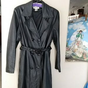 Long Ankle Length Leather Black Coat long lined